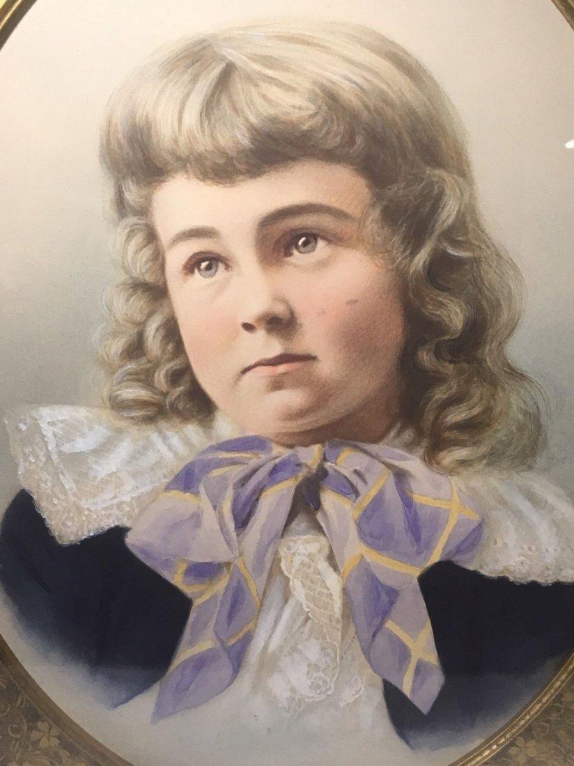 Antique French 1800's Watercolor Painting boy Portrait - 2