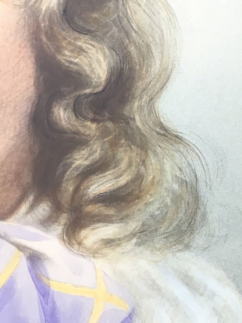 Antique French 1800's Watercolor Painting boy Portrait - 3