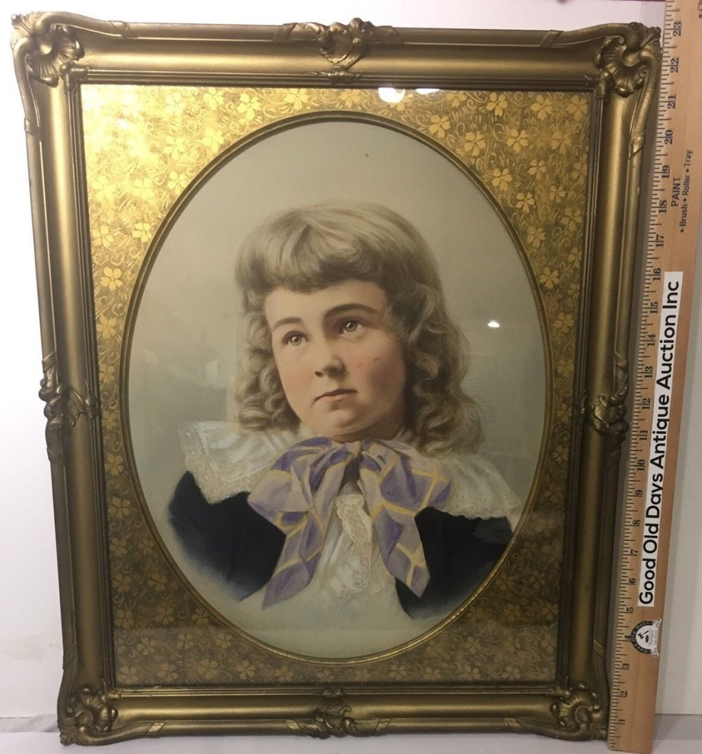 Antique French 1800's Watercolor Painting boy Portrait - 4