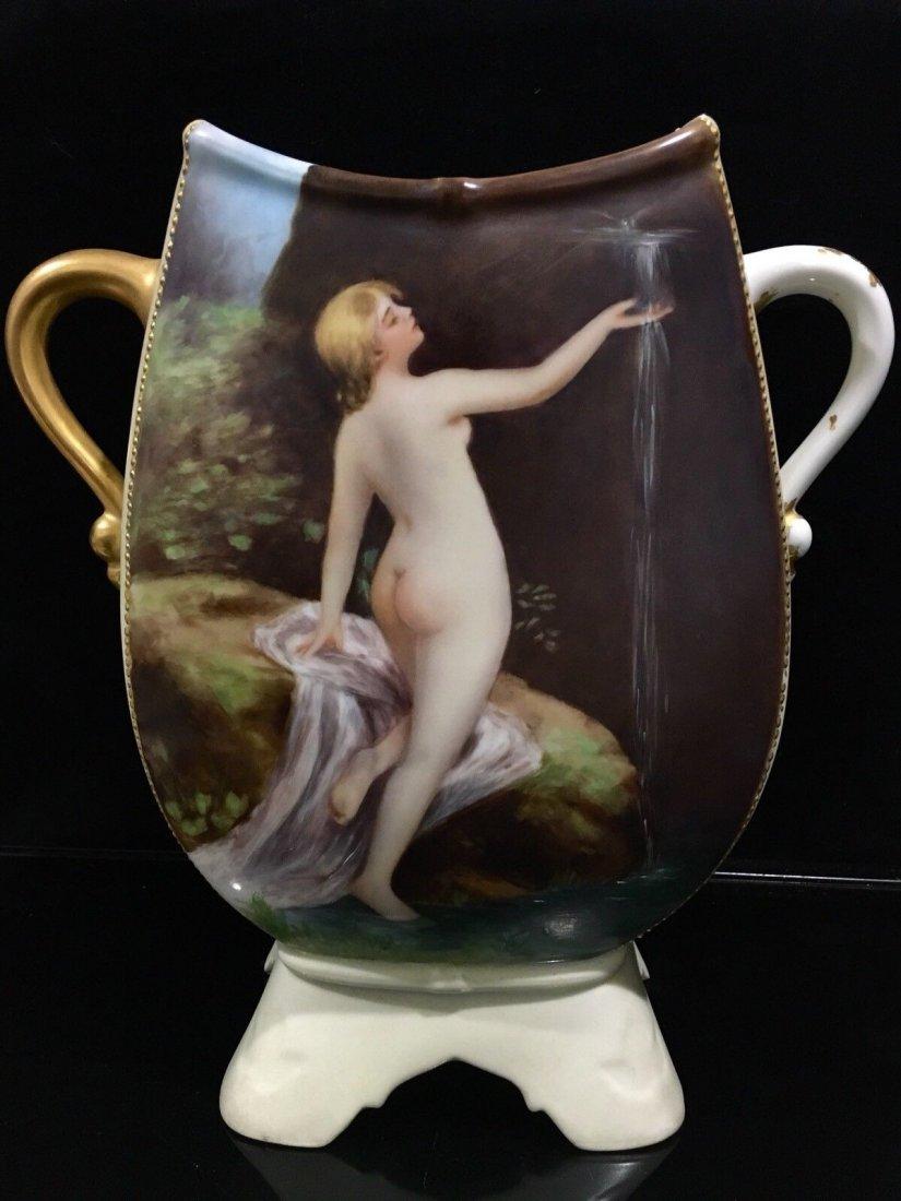 Antique Limoges porcelain portrait Nude Vase