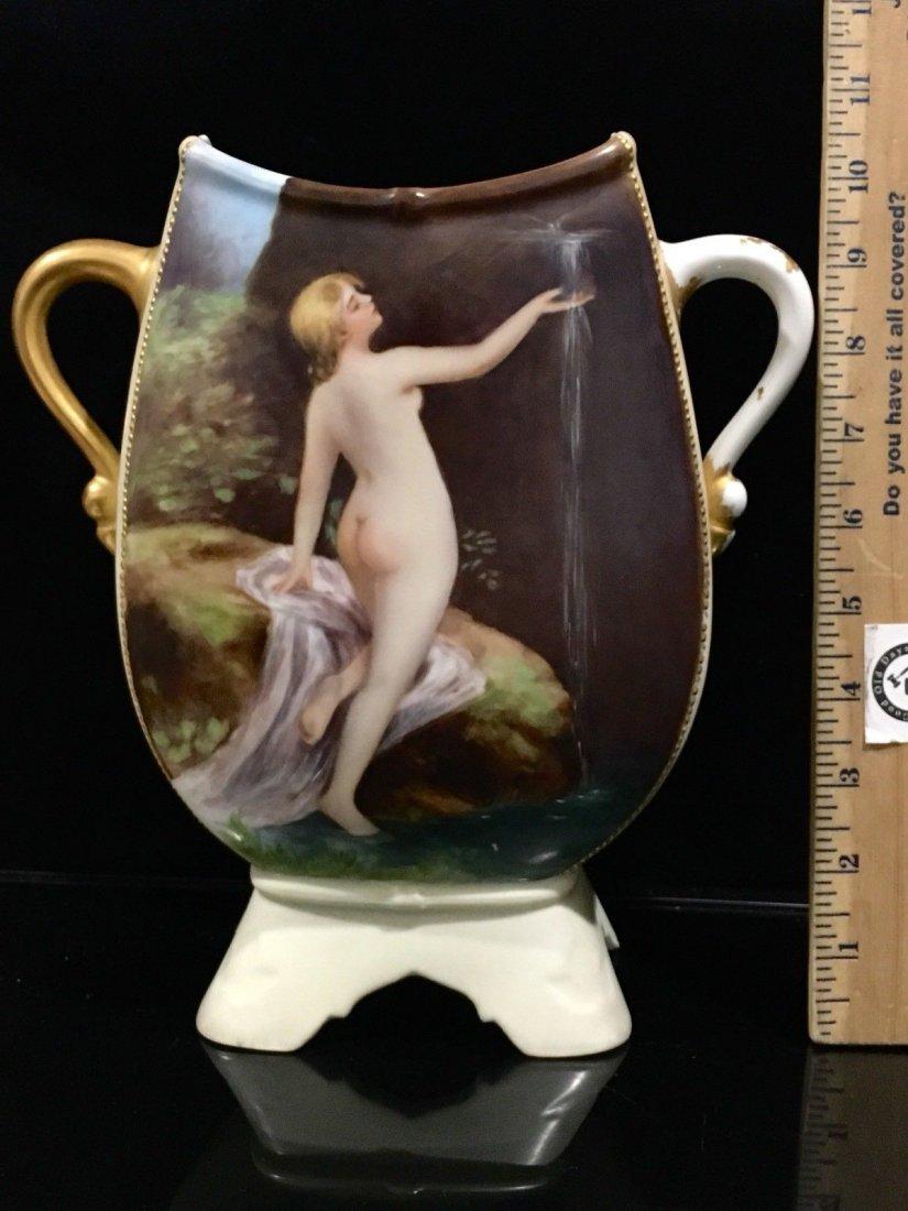 Antique Limoges porcelain portrait Nude Vase - 2