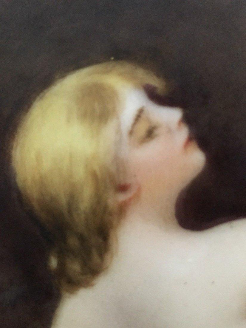Antique Limoges porcelain portrait Nude Vase - 7