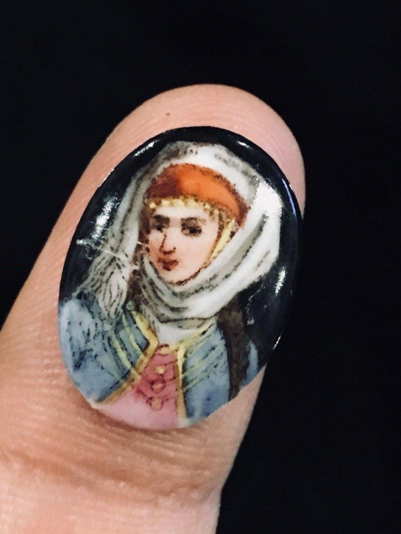 Nail Size Porcelain Plaque Miniature Hand Painted