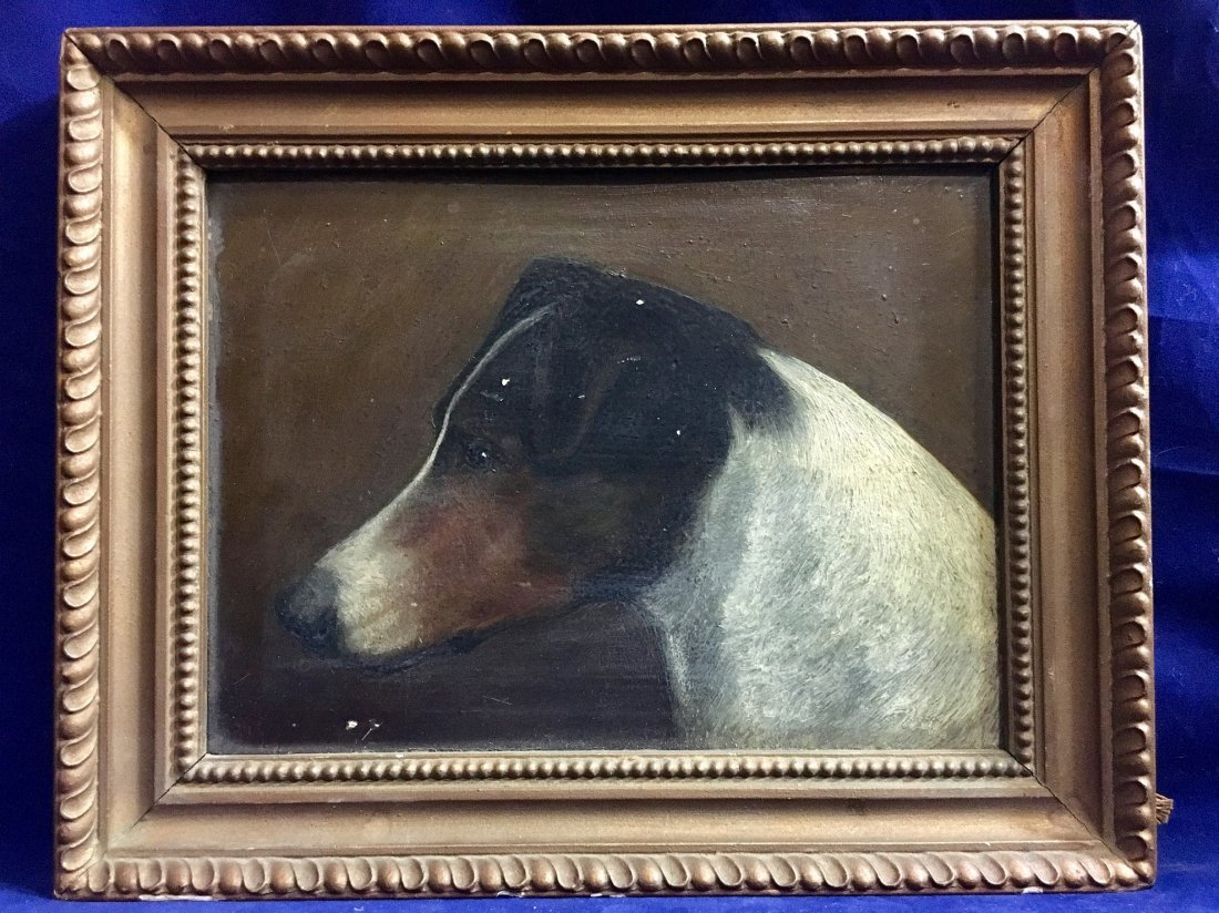 "1800's Antique Small American Foxhound Painting 6""X7"""