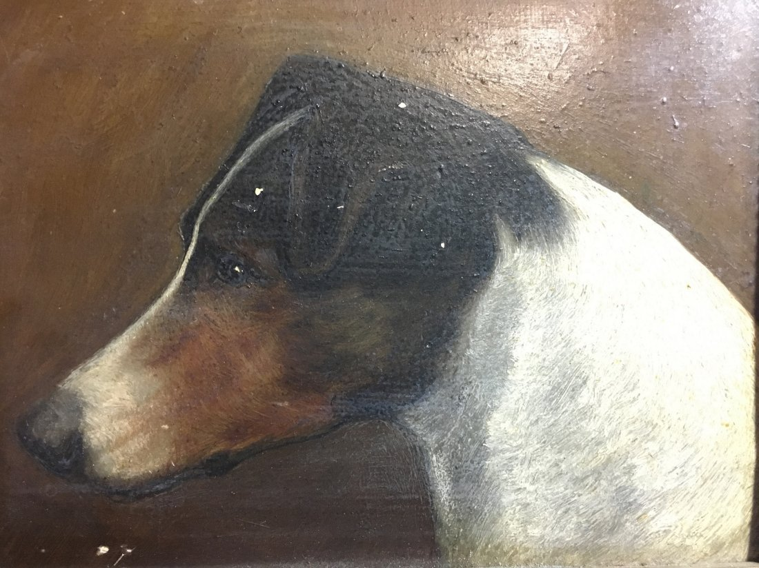 "1800's Antique Small American Foxhound Painting 6""X7"" - 3"
