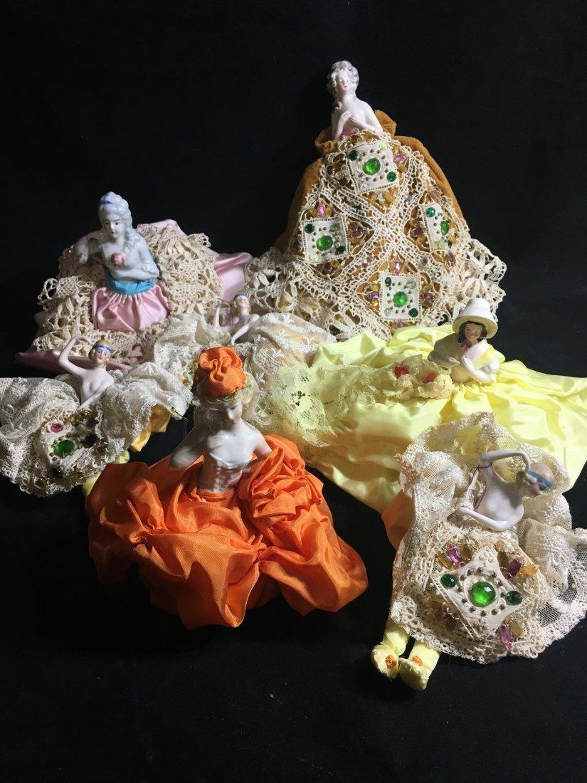 Lot of 7 Antique german hald dolls