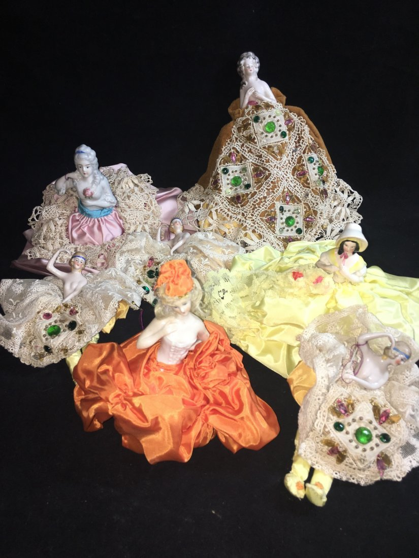 Lot of 7 Antique german hald dolls - 2