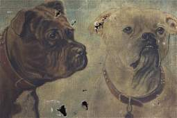 Antique Bulldogs oil on Canvas For restoration