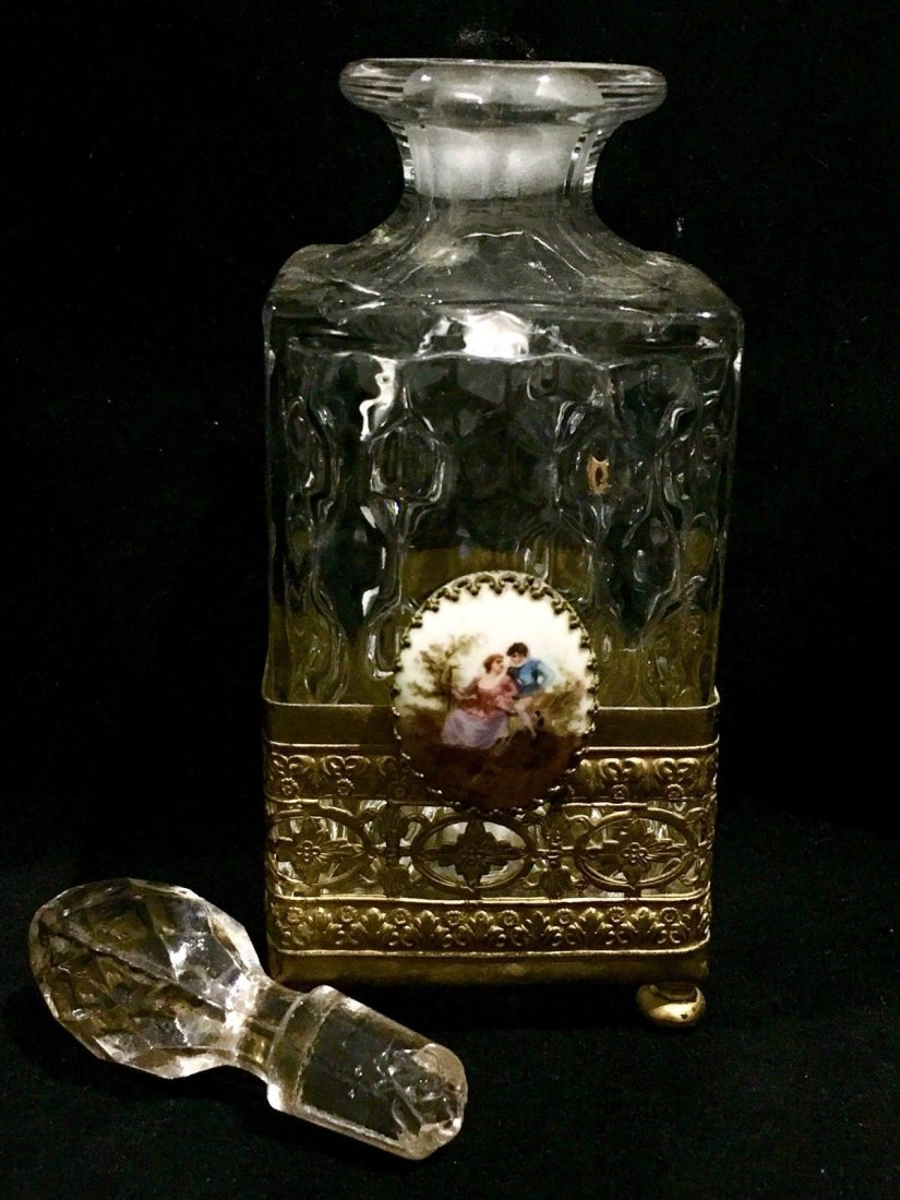 French Perfume Bottle Limoges Hand Painted Plaque - 2
