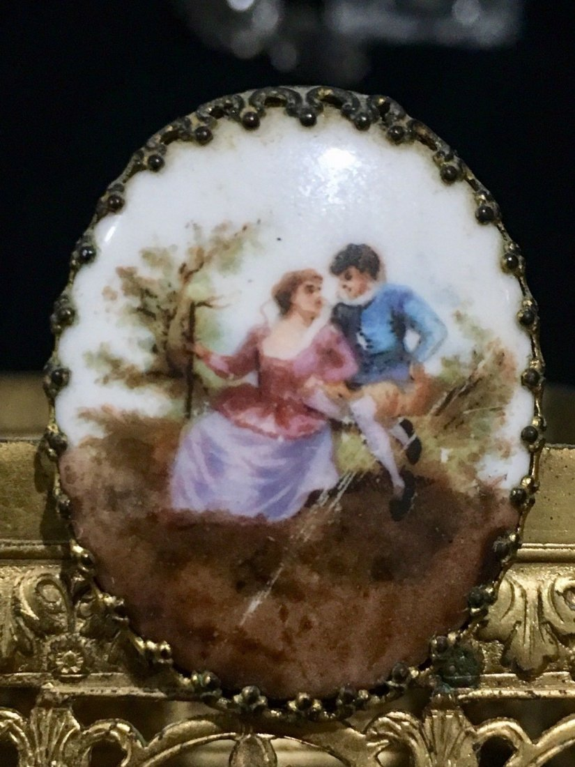 French Perfume Bottle Limoges Hand Painted Plaque - 5