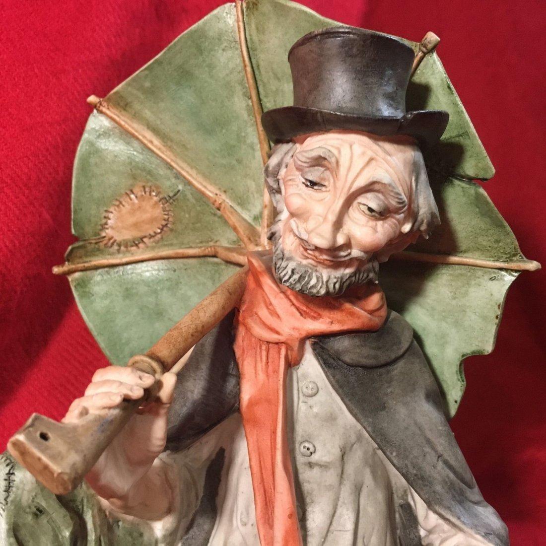 Large Giuseppe Armani Old Man With Dog And Umbrella - 6