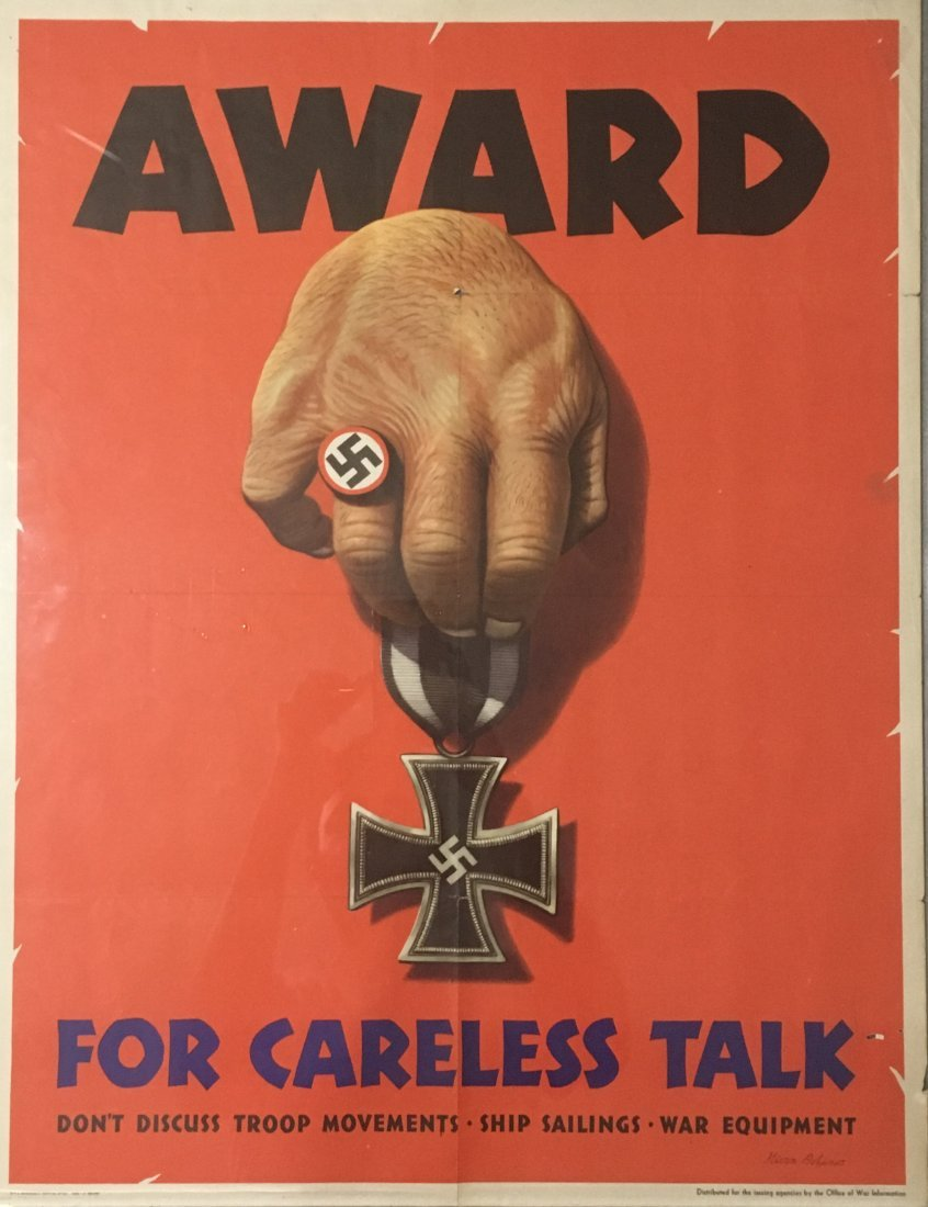 "DATED 1944 STAMPED""AWARD FOR CARELESS TALK"" POSTER"