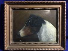 """1800's Antique Small American Foxhound Painting 6""""X7"""""""