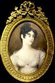 Antique 19th C Miniature French Painting of Noble Lady