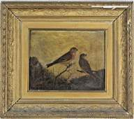 19th or 18th C Antique Bird Nest Painting Oil on Canvas
