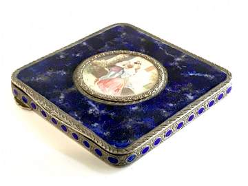 Italy 800 Sterling Cigarette Case Cobalt Portrait