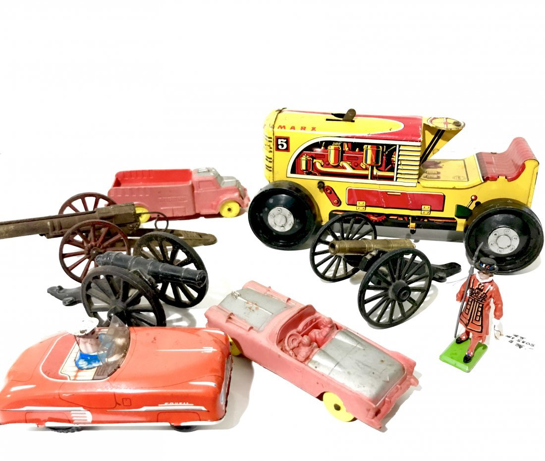 lot collection of vintage toys, cars& cannons&miniature