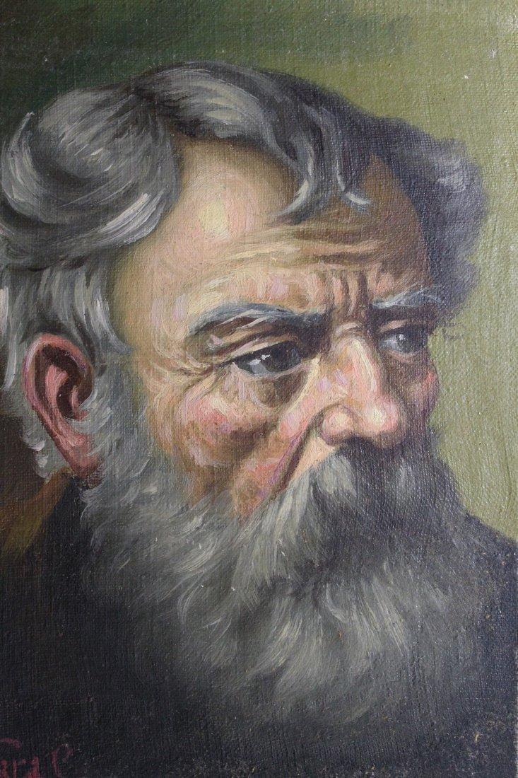 Vintage Signed Oil on Canvas Bearded Man Portrait
