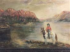 ANTIQUE SPANISH KNIGHT ON HORSE 29 X 21 OIL ON CANVAS