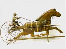 Antique Large Horse And Sulky Weathervane