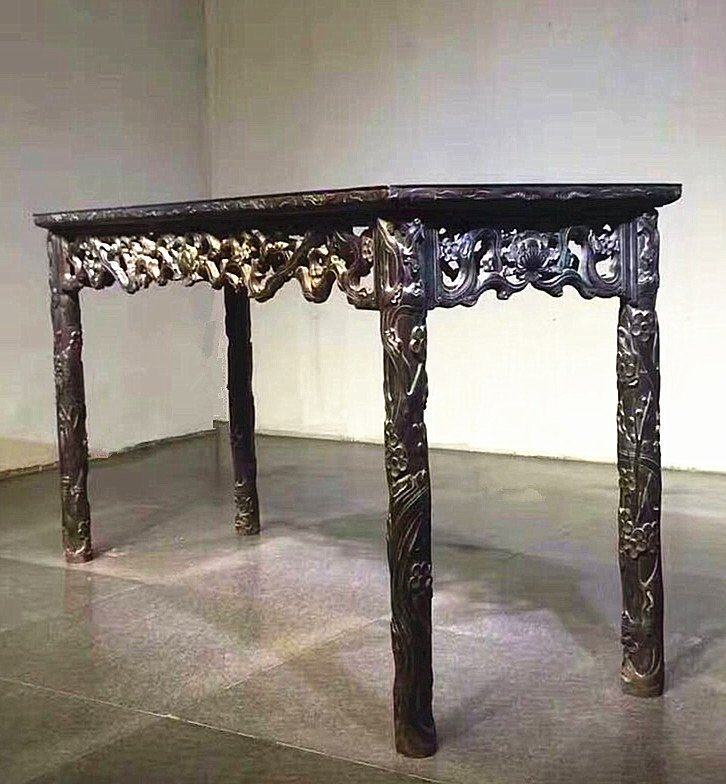 Fine Old Chinese Zitan Wood Carved Console Table - 2