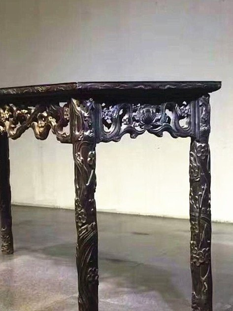 Fine Old Chinese Zitan Wood Carved Console Table - 7
