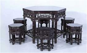 Set of Old Chinese Zitan Wood Carved Table and Stools