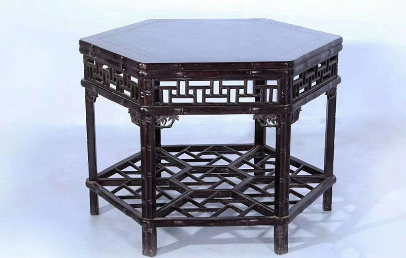 Set of Old Chinese Zitan Wood Carved Table and Stools - 2