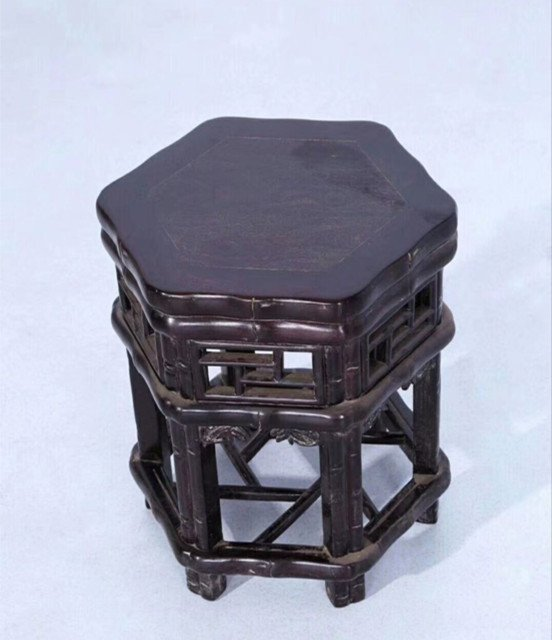 Set of Old Chinese Zitan Wood Carved Table and Stools - 4