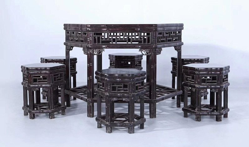 Set of Old Chinese Zitan Wood Carved Table and Stools - 5