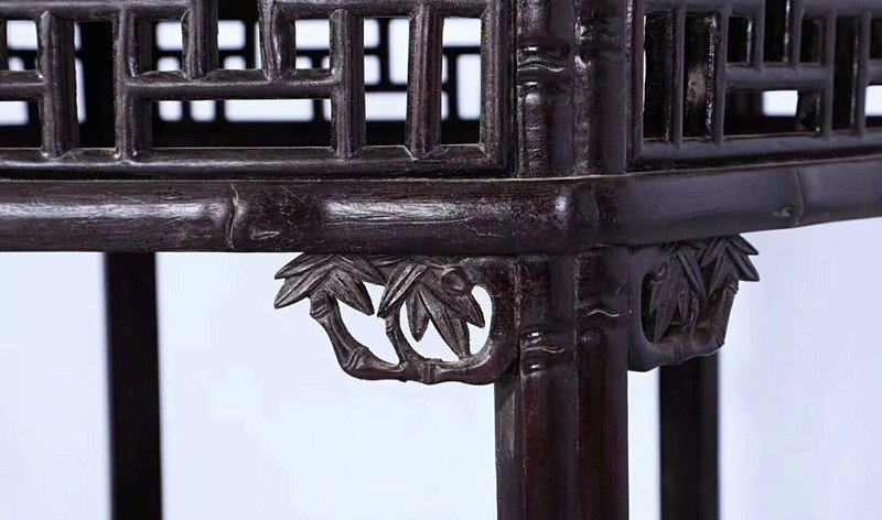 Set of Old Chinese Zitan Wood Carved Table and Stools - 6