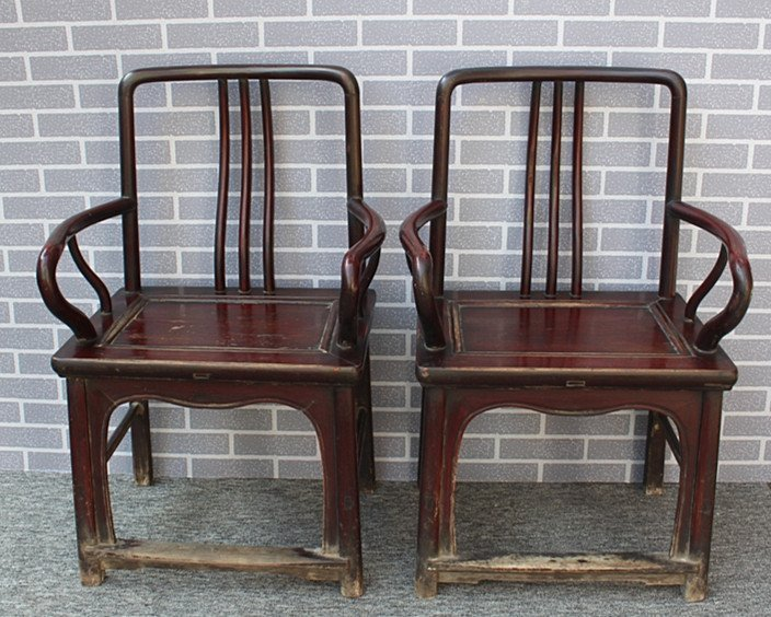 Old Pair Chinese Hardwood Official Hat Armchairs