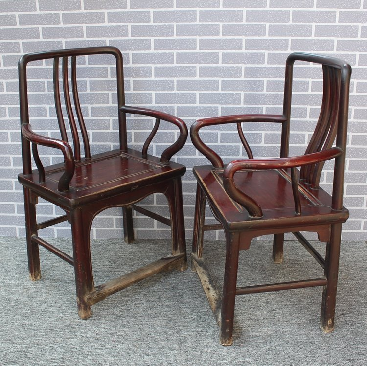 Old Pair Chinese Hardwood Official Hat Armchairs - 2
