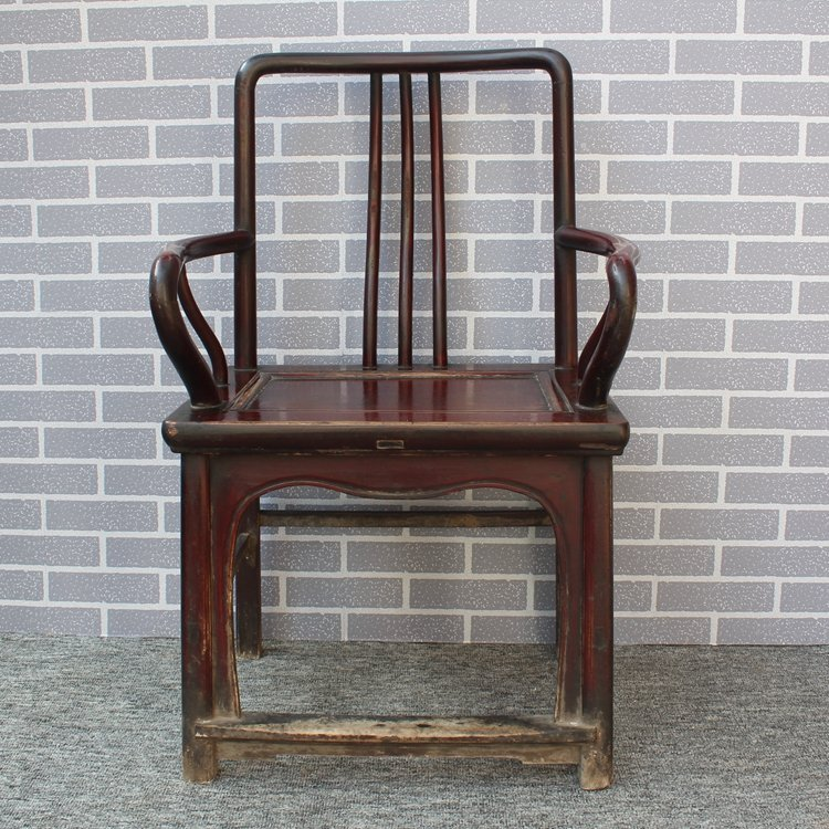 Old Pair Chinese Hardwood Official Hat Armchairs - 3