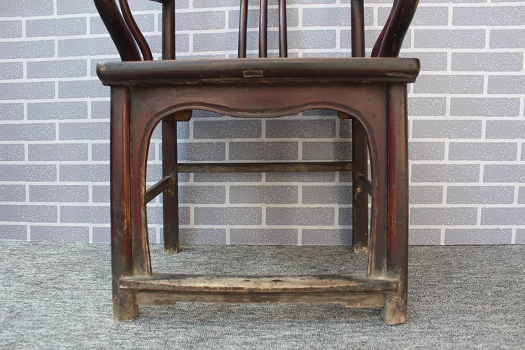Old Pair Chinese Hardwood Official Hat Armchairs - 6
