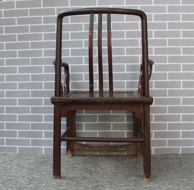 Old Pair Chinese Hardwood Official Hat Armchairs - 8
