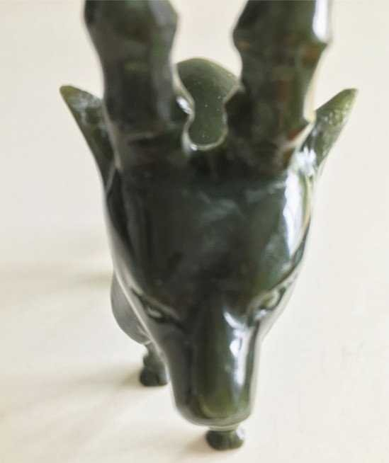 Fine Old Chinese Spinach Jade Carved Goat - 6
