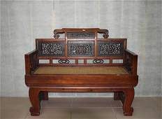 Fine Old Chinese Hardwood Carved Arm Chair