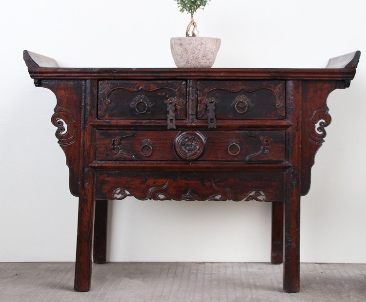 Antique Chinese Hardwood Carved  Console Table