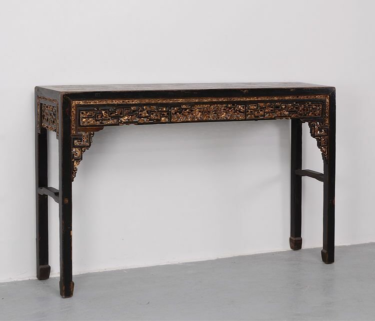 Antique Chinese Guilt Hardwood Carved Console Table
