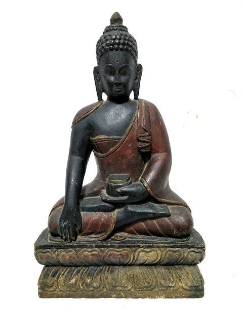 Antique Chinese Lacquered Painted Wood Carved Buddha