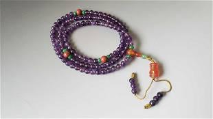 Old Tibetan Purple Crystal Bead Buddhist Bracelet