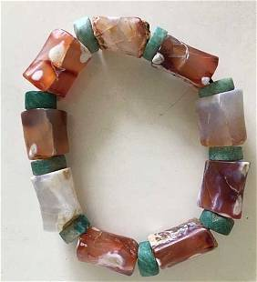 Old Chinese Archaic Agate Bead Bracelet