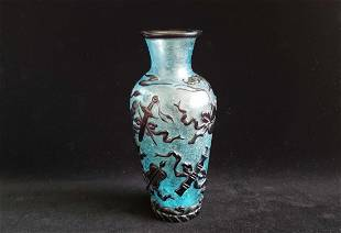 Antique Chinese Peking Glass Carved Flower Vase