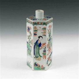 Rare Chinese Kangxi Period Hexagonal Famille Verte Vase