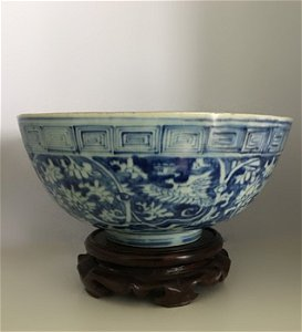 Rare Large Chinese Ming Dynasty B&W Phoenix Bowl