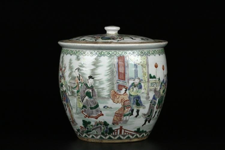 Large Antique Chinese Famille Verte Jar