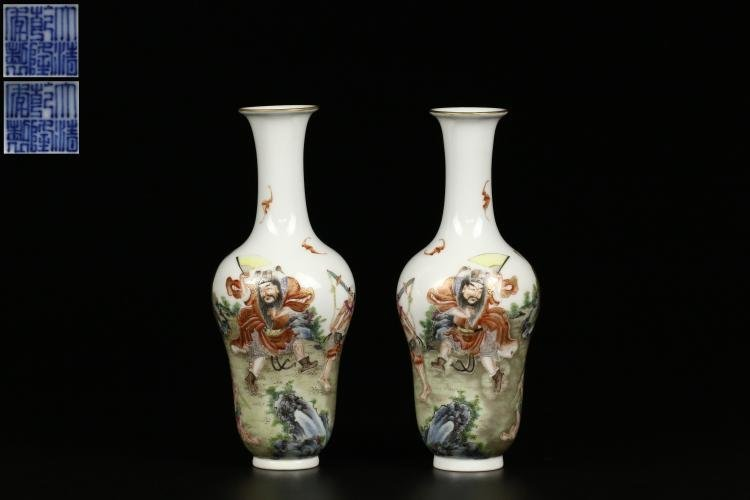 Pair of Antique Chinese Famille Rose Porcelain Vases