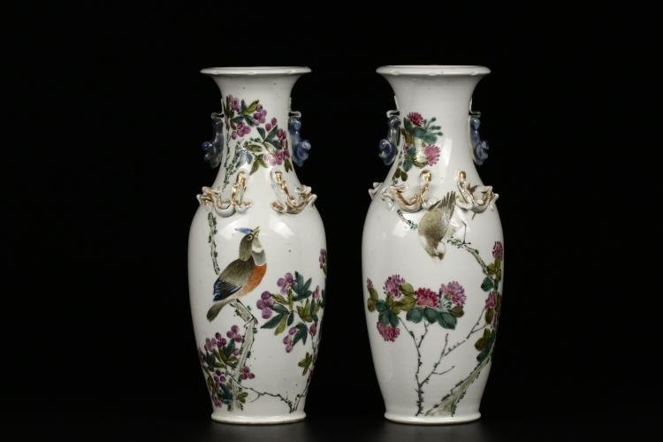 Pair of Antique Chinese Famille Rose Vases