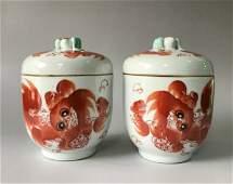 Pair Antique Chinese Famille Rose Porcelain Tea Pots